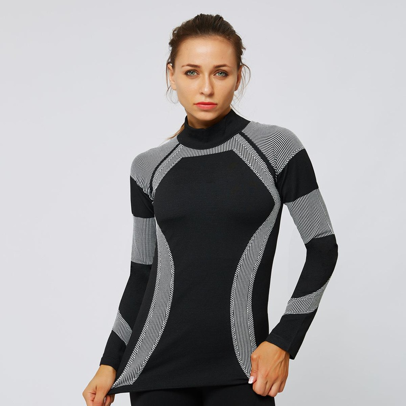 Fashion jacquard high collar seamless long sleeve fitness sports yoga clothes NHMA155834