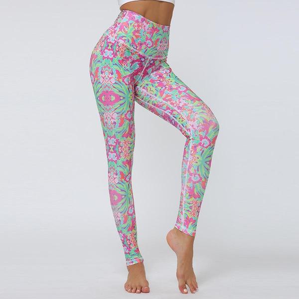 Tight-fitting high-waist hip digital print sports yoga pants NHMA155841