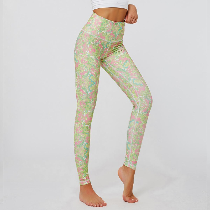 Fashion digital printing high waist slim stretch sports yoga pants NHMA155847