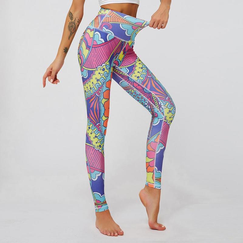 Digital printed leggings high waist slim sports yoga pants NHMA155861