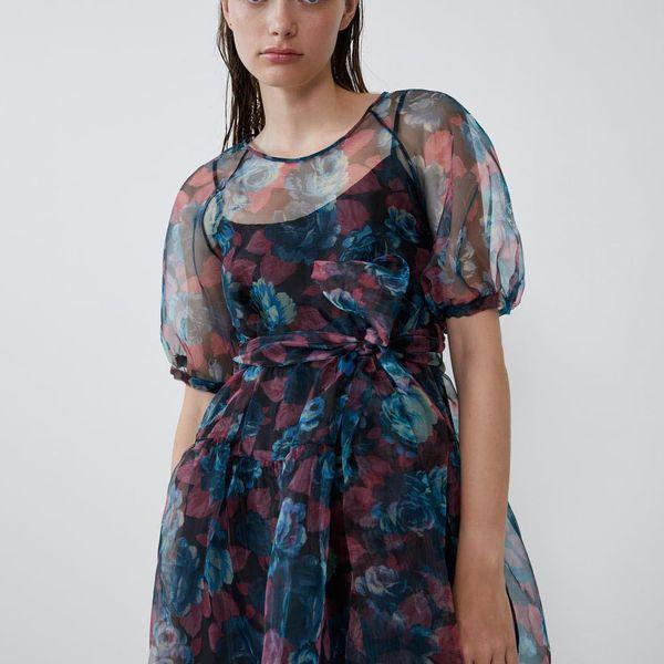 Loose transparent organza vintage dress NHAM155901