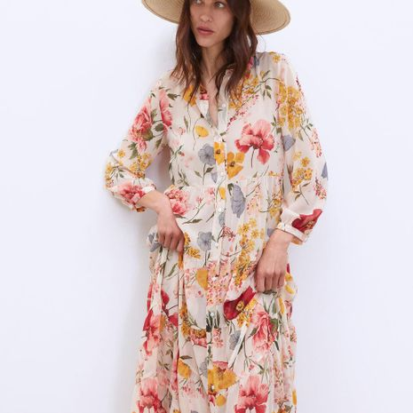 Flower Print Long Sleeve Dress NHAM155903's discount tags