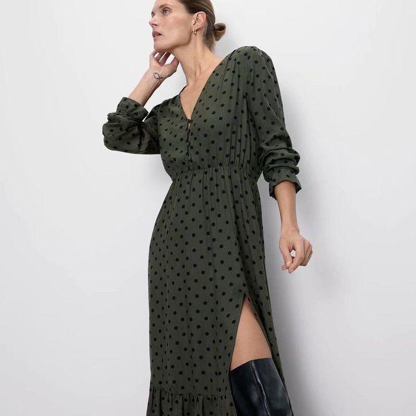 Fashion dot print long sleeve dress NHAM155909