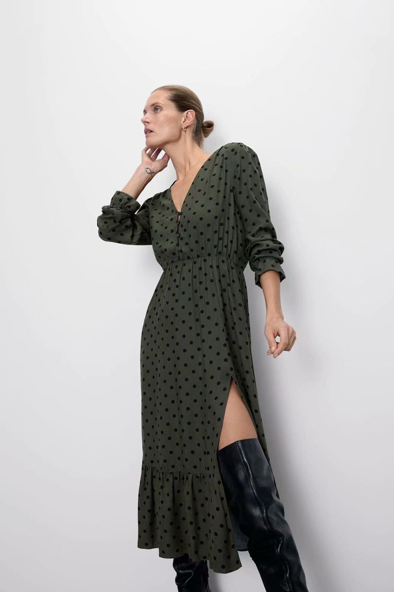 Vestido de manga larga con estampado de puntos de moda NHAM155909
