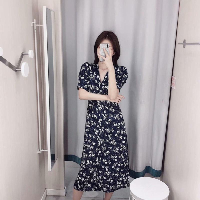 Vintage Tea Break Blue Chiffon Floral Dress NHAM155913