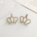 Small rhinestone shiny crown stud earrings NHDP155627