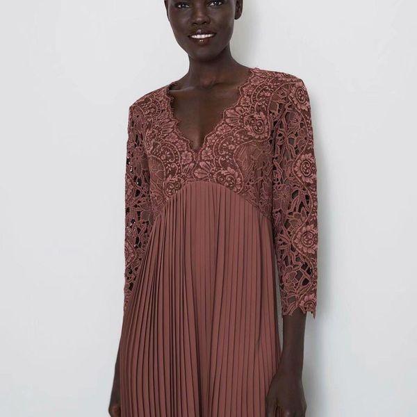 Autumn lace stitching dress NHAM149585