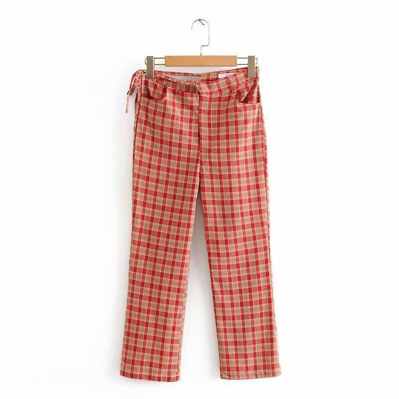 Fashion red plaid 9 pants women's casual pants NHAM149656