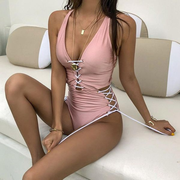 Sexy pink cross tie rope slim gathered swimsuit NHHL149661