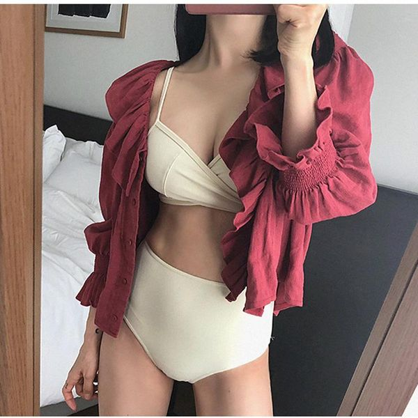Fashion sexy gathered chest split swimsuit NHHL149701