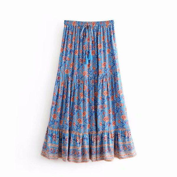 Falda de cintura elástica estampada a la moda NHAM149756