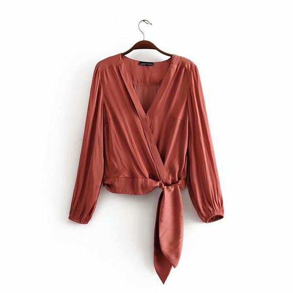 Autumn casual laced silk long sleeve blouse NHAM149762