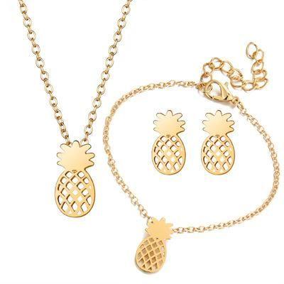 Mode alliage fruits ajouré ananas collier boucles d'oreilles 3 photos ensemble NHCU149806's discount tags