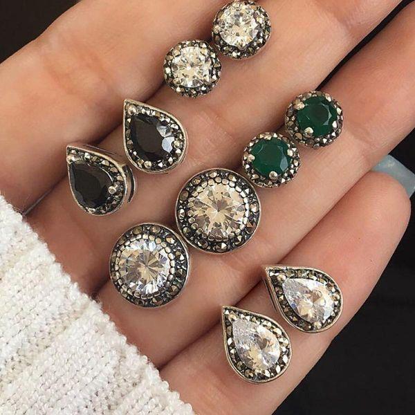 Diamond emerald water drop black gem stud earrings 5 pics set NHPV149808