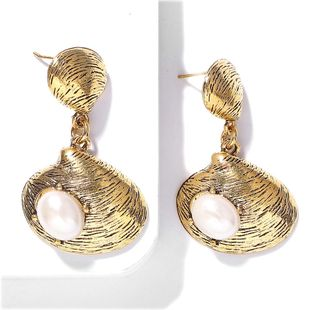 Retro simple inlaid pearl alloy shell earrings NHJQ149811's discount tags