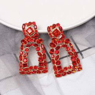 New geometric color diamond-studded hollow earrings NHJJ149817's discount tags