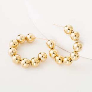 Fashion C-shaped beaded hoop earrings NHJE149818's discount tags