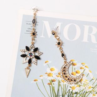 Fashion gold-encrusted five-pointed star moon asymmetrical earrings NHJJ149820's discount tags