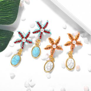 Fashion starfish turquoise earrings NHJQ149814's discount tags