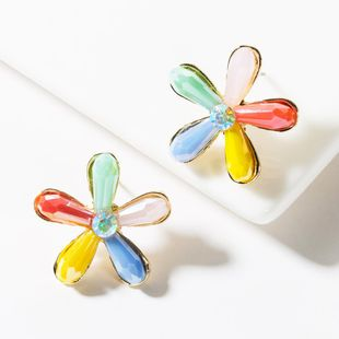 Fashion alloy crystal floral stud earrings NHJE149823's discount tags
