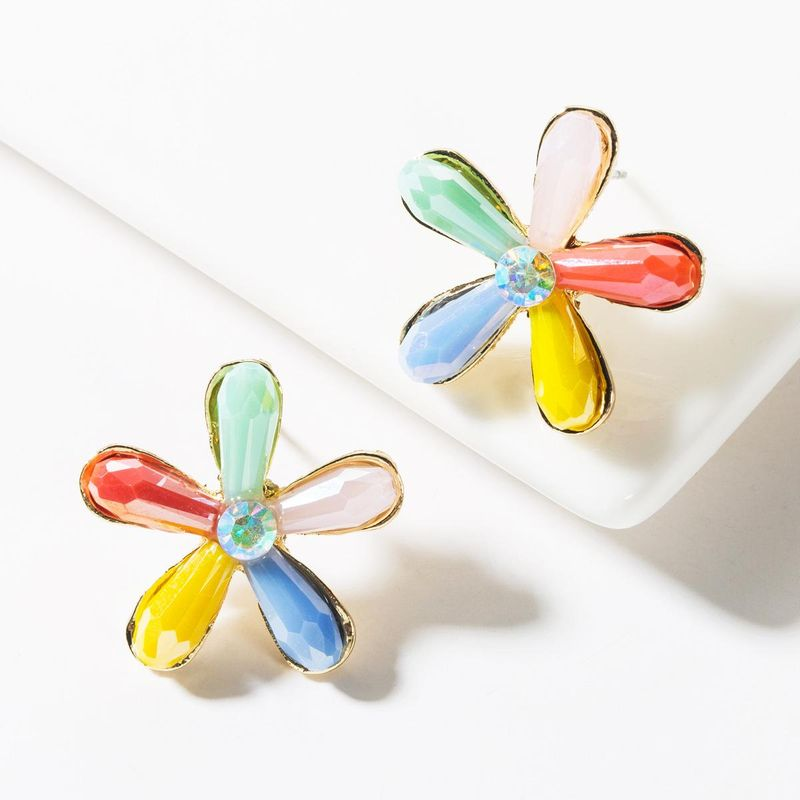 Fashion alloy crystal floral stud earrings NHJE149823