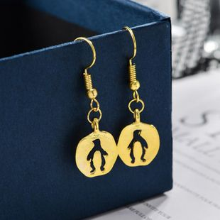 Simple hollow penguin alloy plating earrings NHCU149829's discount tags