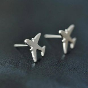 Hand drawn brushed face cute airplane stud earrings NHCU149834's discount tags