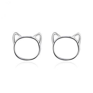 Sweet hollow cat alloy stud earrings NHCU149843's discount tags