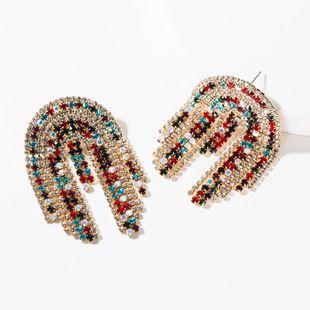 Fashion arched rhinestone tassel earrings NHJE149857's discount tags