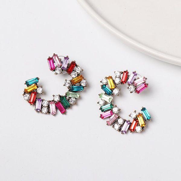 New C-type alloy diamond-studded color hoop earrings NHJJ149864