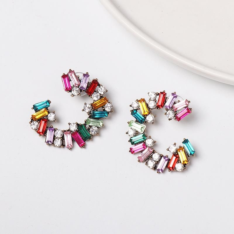 New Ctype alloy diamondstudded color hoop earrings NHJJ149864