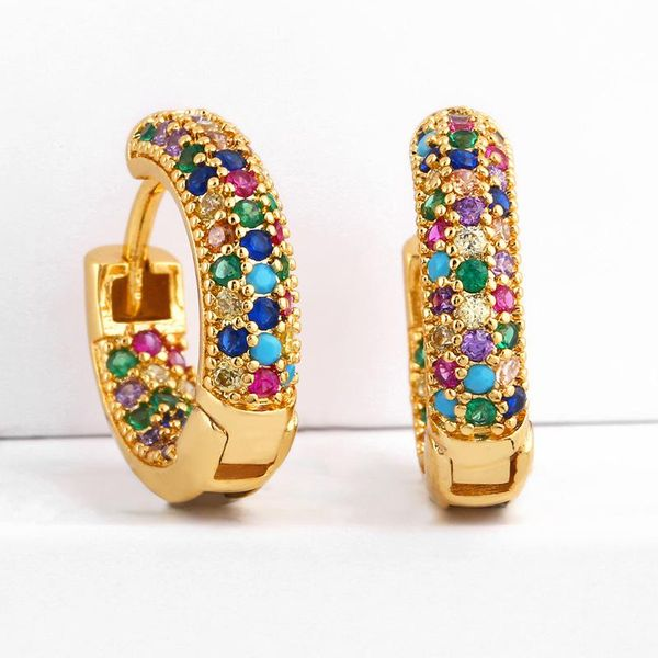 New copper inlaid zircon color hoop earrings NHAS149866