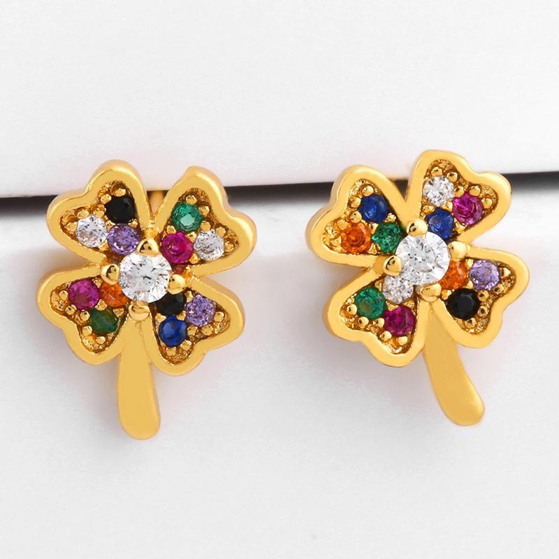 New copper inlay zircon butterfly flower stud earrings NHAS149868