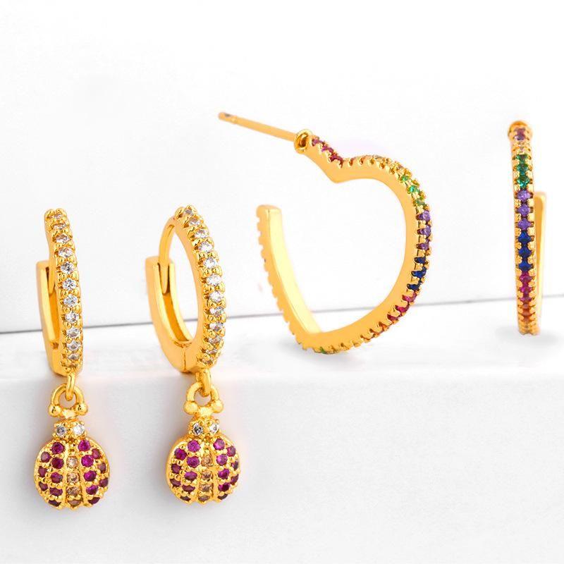 New copper inlaid zircon heart shaped rainbow hoop earrings NHAS149870