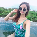 Sexy backless lowcut sling leaf print onepiece swimsuit NHHL149632
