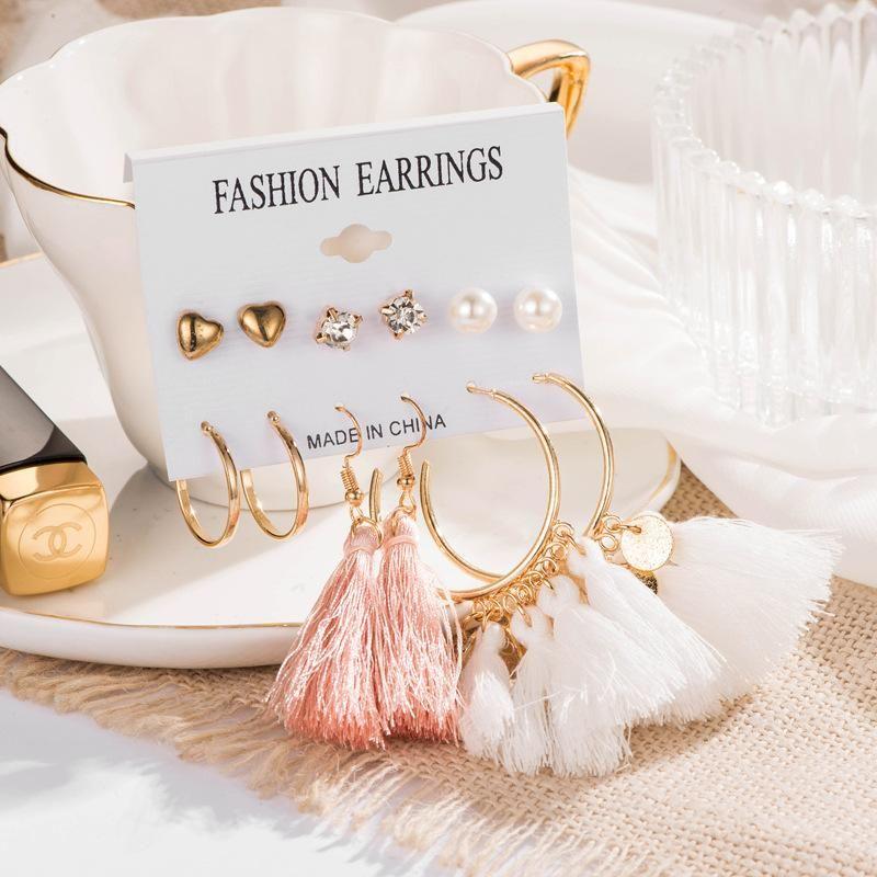 Fashion Love Zircon Pearl Circle Tassel 6 Pairs Stud Earrings Set NHDP149883
