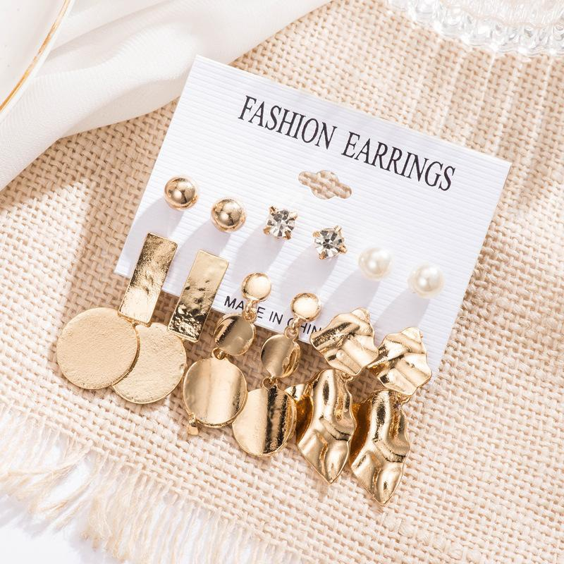Fashion cool wind geometry round metal stud earrings NHDP149900