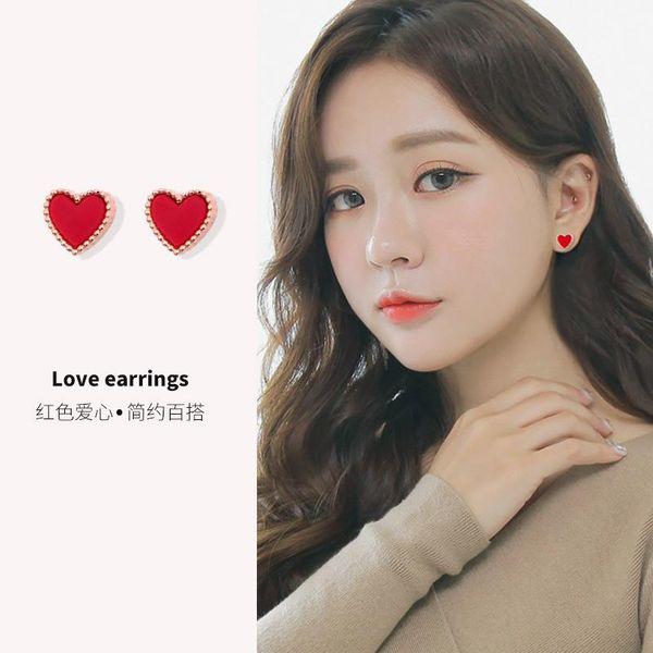 Fashion sterling silver fresh personality red heart earrings NHIM149963