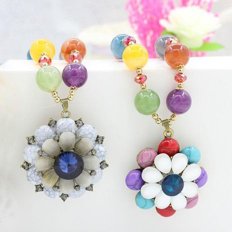 Vintage ethnic style lady beads flower necklace NHDP150022's discount tags