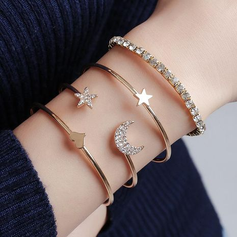 Simple and stylish star and moon studded glossy peach heart bracelet NHDP150043's discount tags