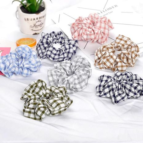 Simple plaid fabric hair circle plaid pattern hair rope NHOF150081's discount tags