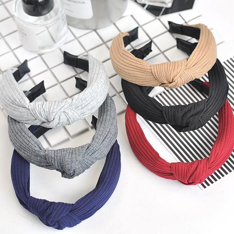 Wide-brimmed fabric knit cross knotted headband NHOF150088's discount tags