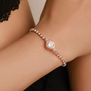 Fashion Rose Gold Love Zircon Artificial Gemstone Bracelet NHDP150100's discount tags