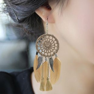 Vintage ethnic style luxury dream catcher feather earrings NHDP150102's discount tags