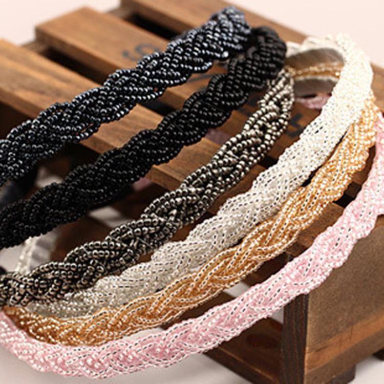 Korean version of beaded crystal twist fine pearl headband NHDP150104