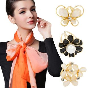 Korean version of the fashion rhinestone cat's eye silk scarf buckle NHDP150109's discount tags