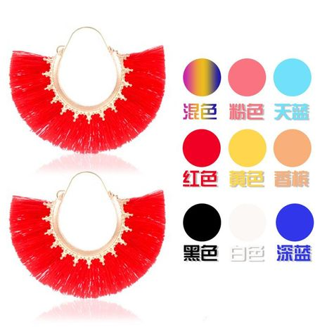 Creative fan-shaped ethnic style exaggerated tassel earrings NHDP150113's discount tags