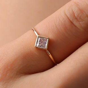 Simple female geometric zircon square diamond ring NHDP150114's discount tags