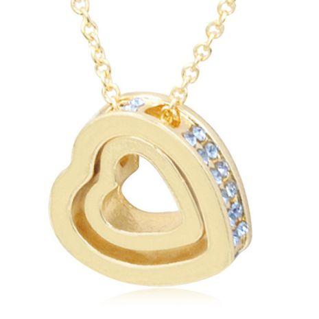 Version coréenne du collier en cristal de clavicule de coeur de pêche à double couche de gemme artificielle double coeur NHDP150120's discount tags