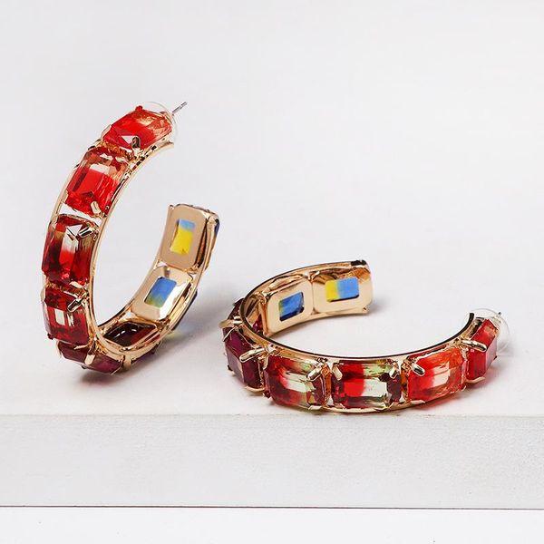 Fashion C-shaped colored rhinestones hoop earrings NHJJ150130